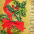Christmas card with holly and red bow - Stock Photo