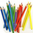 Thick colored pencils on white background, isolated - Stock Photo