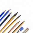 Brushes, pencils and tools of an artist, — Stock Photo #8100858