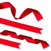 クリッピングと白地に赤い光沢のあるリボンおよび弓のストリップします。 — ストック写真