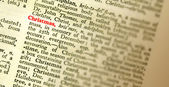 Innebörden av ordet jul belyst i ordlistan. grunt fo — Stockfoto