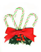 Three candy canes tied with a red ribbon and with a holly sprig. — Stock Photo