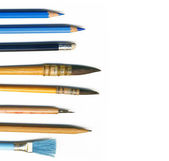 Different brushes, pencils and tools of an artist, isolated on white backgr — Stock Photo