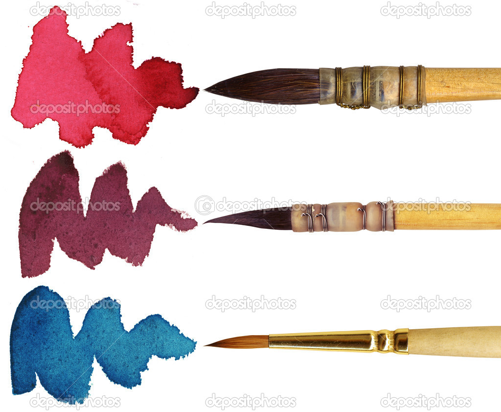 3 brushes with different colours of paint, isolated on white background — Stock Photo #8100845