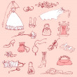 Stock Photo: Wedding set of cute glamorous doodles