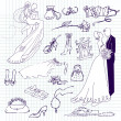 Wedding set of cute glamorous doodles - Stock Photo