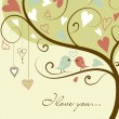 Stock Photo: Stylized love tree made with two birds in love