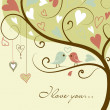 Stylized love tree made with two birds in love - Stok fotoğraf