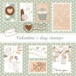 Set of valentine's day stamps - Stock Photo