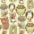 Stock Photo: Seamless owl pattern.