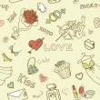 Love Seamless Doodles — Foto Stock