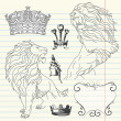 Set of lion and crown heraldry - 图库照片