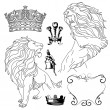 Set of lion and crown heraldry - Stock Photo