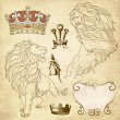 Set of lion and crown heraldry - Stock fotografie