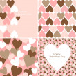 Stock Photo: Vector set of Valentines seamless pattern