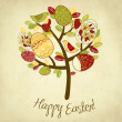 Stock Photo: Easter Card with tree, eggs and birds