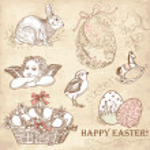 Vintage Easter Set — Stock Photo