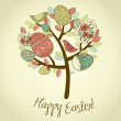 Easter Card with tree, eggs and birds — Stock Photo #9411953