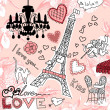 LOVE in Paris doodles - Stock Photo