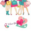 Foto Stock: Shopping girls
