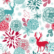 Stock Photo: Christmas floral seamless pattern with deers and birds