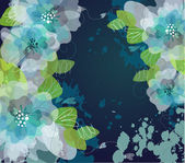Blue Artistic flower background — Stockfoto