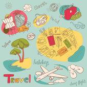 Summer Holidays Doodles. Vector illustration. — Stock Photo