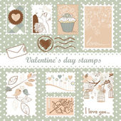 Set of valentine's day stamps — 图库照片