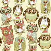 Seamless owl pattern. — Stock Photo