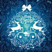 Blue and White Christmas ball illustration. — Stock Photo