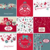 Conjunto de tarjetas de navidad — Foto de Stock