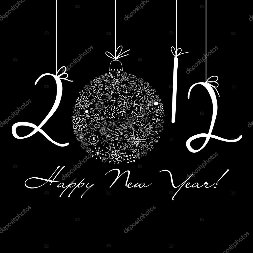 2012 Happy New Year background. Black and White background  Stock Photo #9411020