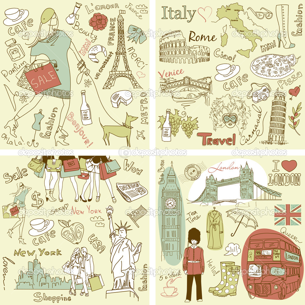 Italy, England, France, USA - four wonderful collections of hand drawn doodles — Stock Photo #9411247