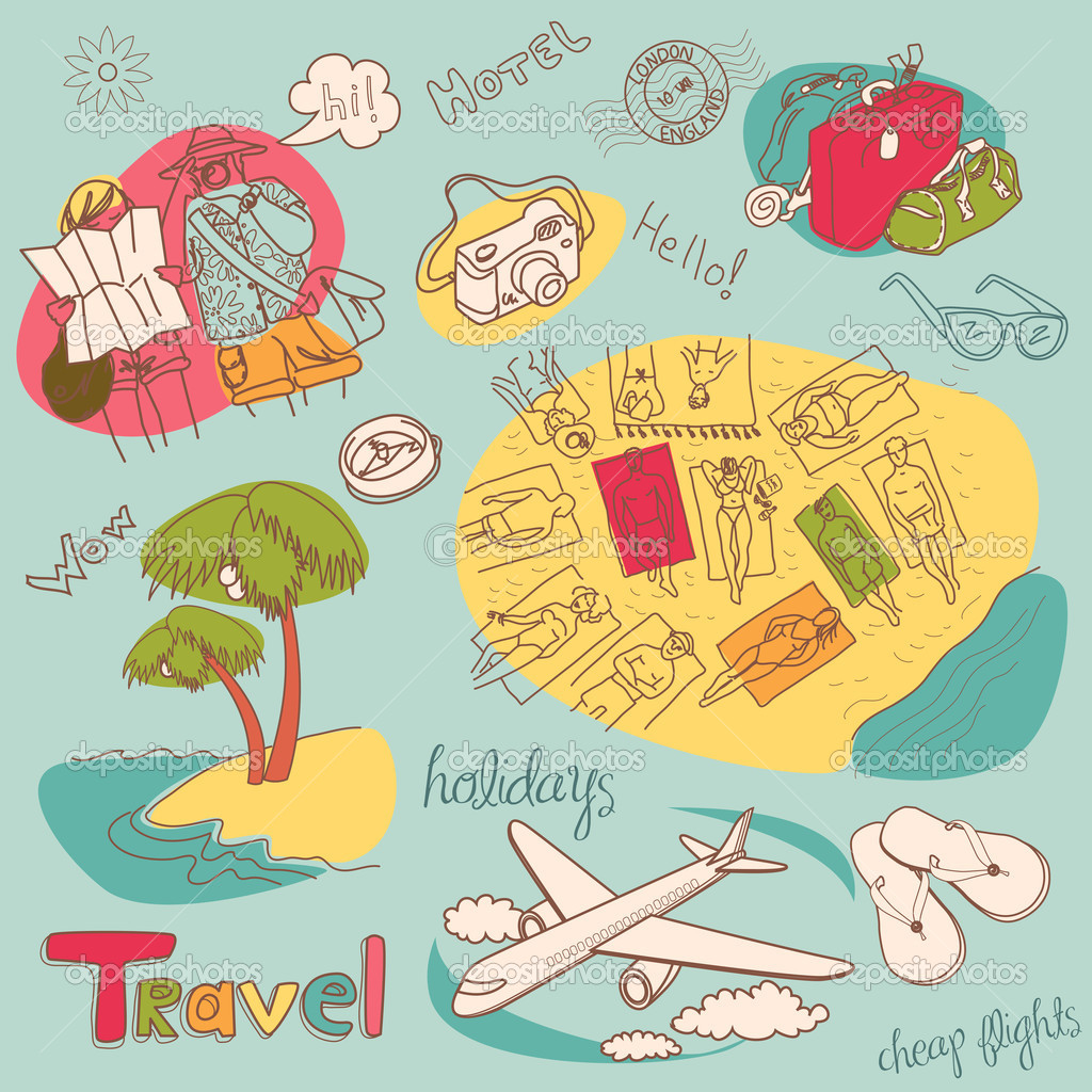 Summer Holidays Doodles. Vector illustration.  Stock Photo #9411363