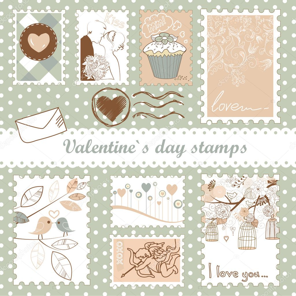 Set of valentine's day stamps  Stockfoto #9411411