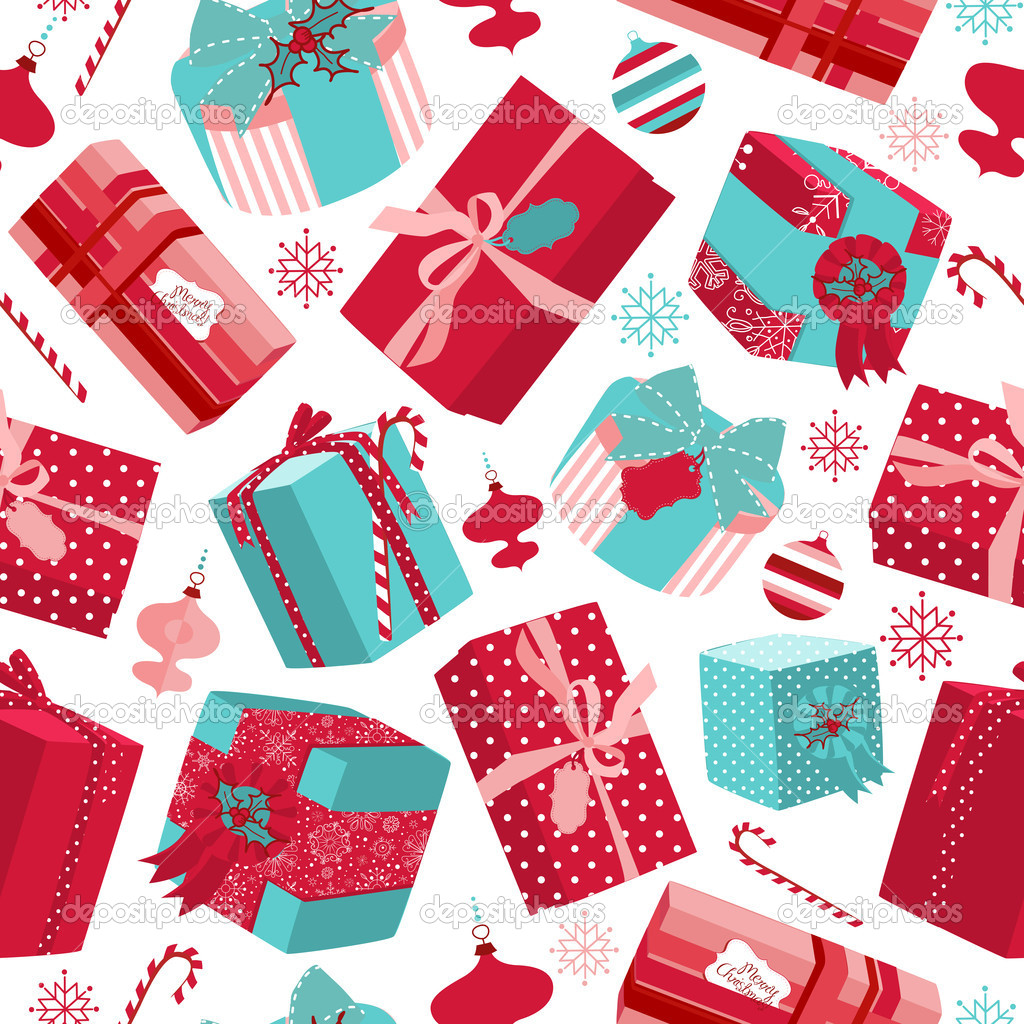 Retro Christmas Gift boxes. Seamless pattern — Stock Photo #9412392