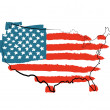 Stock Photo: USA map with US flag
