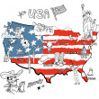 Stock Photo: Stylized map of America.