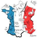 Stylized map of France. — Stock Photo