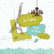 In Love with Paris, Cute scrapbook elements — Stock Photo