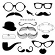Retro Party set - Sunglasses, lips, mustaches — Stock Photo