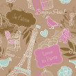 Love in Paris. Seamless pattern — ストック写真