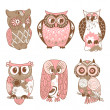 Collection of six different owls - Stok fotoğraf