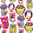 Stock Photo: Eamless owl pattern.