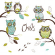 Stock Photo: Collection of five different owls