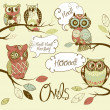 Stock Photo: Collection of five different owls with speach bubbles