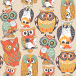 Seamless owl pattern. - Stock Photo