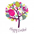 Easter Card with tree, eggs and birds — Stock Photo