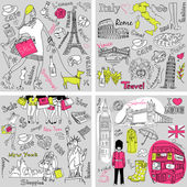 Four wonderful collections of hand drawn doodles — Stock Photo