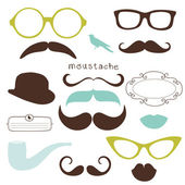 Retro Party set - Sunglasses, lips, mustaches — Stok fotoğraf